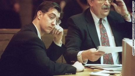 James Burmeister listens as he is convicted of two counts of first-degree murder in Fayetteville, North Carolina, on Feb. 27, 1997.