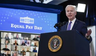 President Joe Biden speaks during an event to mark Equal Pay Day in the South Court Auditorium in the Eisenhower Executive Office Building on the White House Campus Wednesday, March 24, 2021, in Washington. (AP Photo/Evan Vucci)