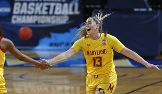 Maryland guard Faith Masonius (13) is congratulated after a basket during the first half of a college basketball game against Alabama in the second round of the women's NCAA tournament at the Greehey Arena in San Antonio on Wednesday, March 23, 2021. (AP Photo/Ronald Cortes)