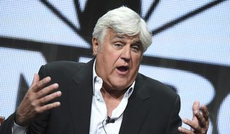 """Jay Leno participates in the """"Jay Leno's Garage"""" panel at the The NBCUniversal Summer TCA Tour at the Beverly Hilton Hotel in Beverly Hills, California, Aug. 13, 2015. (Photo by Richard Shotwell/Invision/AP) ** FILE **"""
