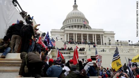 Pro-Trump protesters gather outside the US Capitol Building on January 06, 2021 in Washington, DC. The protest gave way to riots.