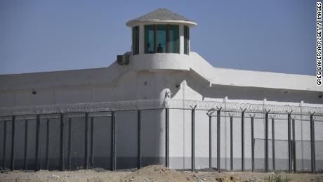 A watchtower on a high-security facility near what is believed to be a re-education camp where mostly Muslim ethnic minorities are detained, on the outskirts of Hotan, Xinjiang, on May 31, 2019.