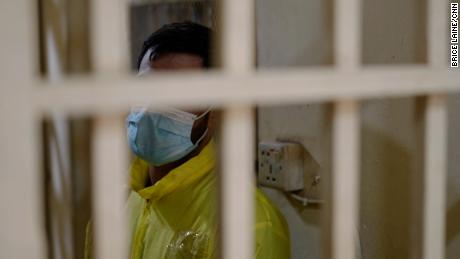 Khaled is pictured in a cell at a western Baghdad prison where he is serving a one year sentence for using crystal meth.
