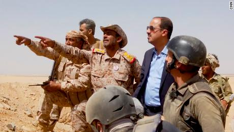 General Sagheer bin Aziz, Chief of Staff, pictured third from left, and Moammar Al-Eryani, Minister of Information, Culture and Tourism, fourth from left at the frontline in Marib.