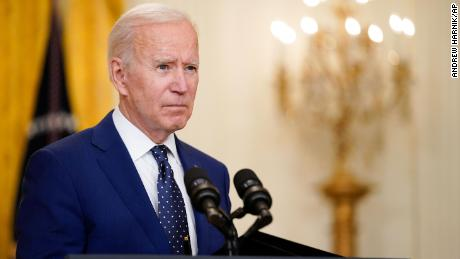 US President Joe Biden speaks about Russia in the East Room of the White House in Washington on April 15.