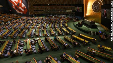 Inside the UN's General Assembly hall.